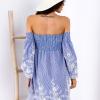 SCANDEZZA Niebieska sukienka w paski - zdjęcie 6