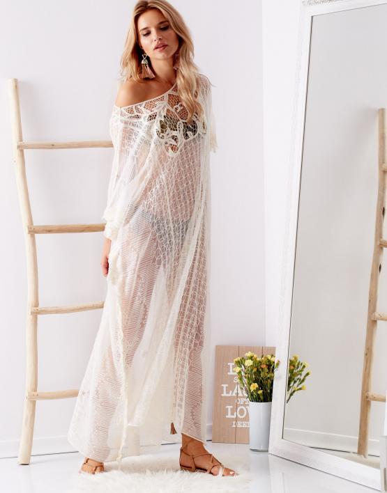 SCANDEZZA Ecru transparentna sukienka maxi