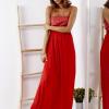 SCANDEZZA Czerwona sukienka maxi z cekinową górą - zdjęcie 4