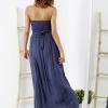 SCANDEZZA Niebieska sukienka maxi z cekinową górą - zdjęcie 1
