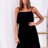 SCANDEZZA Czarna ażurowana sukienka z falbaną przy dekolcie - zdjęcie 2