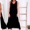 SCANDEZZA Czarna długa sukienka z falbaną - zdjęcie 2