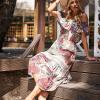 SCANDEZZA Biało-bordowa sukienka maxi z etnicznym nadrukiem - zdjęcie 5