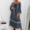 SCANDEZZA Szara sukienka maxi hiszpanka ze wzorem - zdjęcie 1