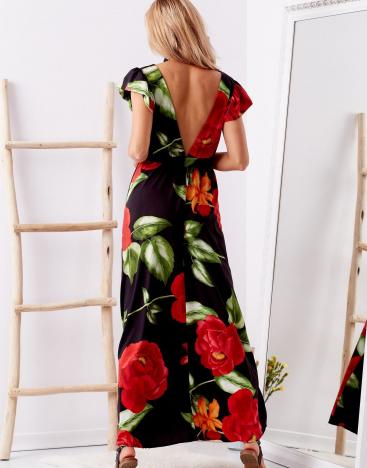 SCANDEZZA Czarna długa sukienka w kwiaty