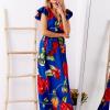 SCANDEZZA Niebieska długa sukienka w kwiaty - zdjęcie 6