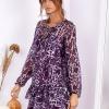 SCANDEZZA Fioletowa sukienka w panterkę z jedwabiem - zdjęcie 4