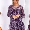 SCANDEZZA Fioletowa sukienka w panterkę z jedwabiem - zdjęcie 3