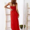 SCANDEZZA Czerwona sukienka maxi z cekinową górą - zdjęcie 3