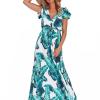 SCANDEZZA Zielona długa sukienka z nadrukiem li¶ci - zdjęcie 4