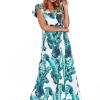 SCANDEZZA Zielona długa sukienka z nadrukiem li¶ci - zdjęcie 3