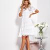 SCANDEZZA Ecru luźna sukienka z oddzielną halką - zdjęcie 3