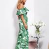 SCANDEZZA Biało-zielona sukienka hiszpanka maxi w tropikalne li¶cie - zdjęcie 2