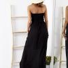 SCANDEZZA Czarna sukienka maxi z cekinową górą - zdjęcie 5