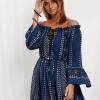 SCANDEZZA Granatowa sukienka maxi hiszpanka ze wzorem - zdjęcie 2