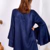 SCANDEZZA Granatowa sukienka z hiszpańskimi rękawami - zdjęcie 2