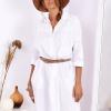 SCANDEZZA Biała bawełniana sukienka szmizjerka - zdjęcie 1