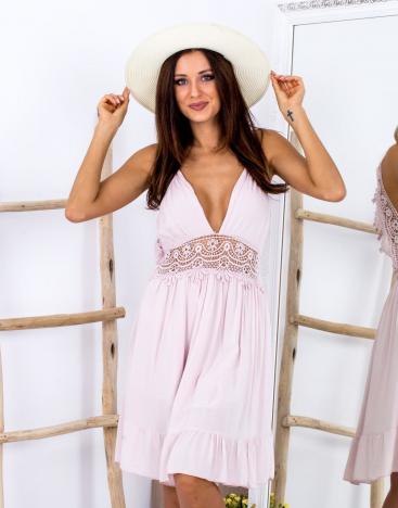 SCANDEZZA Beżowa sukienka z ozdobnym dekoltem z tyłu