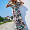 SCANDEZZA Biało-zielona sukienka maxi z etnicznym nadrukiem - zdjęcie 1