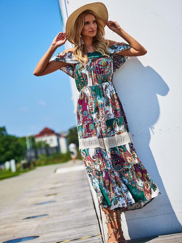bb7a3eede9 SCANDEZZA Biało-zielona sukienka maxi z etnicznym nadrukiem - Tylko ...