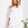 SCANDEZZA Ecru luźna sukienka z oddzielną halką - zdjęcie 6