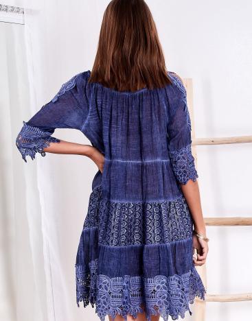 SCANDEZZA Niebieska sukienka boho z wycięciami na ramionach