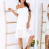 SCANDEZZA Biała sukienka hiszpanka z koronkowymi modułami - zdjęcie 2
