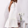 SCANDEZZA Ecru sukienka maxi z haftowanym dekoltem - zdjęcie 6