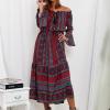 SCANDEZZA Bordowa sukienka maxi hiszpanka ze wzorem - zdjęcie 1