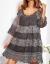 SCANDEZZA Grafitowa sukienka cold shoulder z koronką i cekinowym haftem