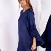 SCANDEZZA Granatowa sukienka z hiszpańskimi rękawami - zdjęcie 1