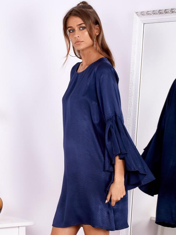 SCANDEZZA Granatowa sukienka z hiszpańskimi rękawami