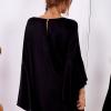 SCANDEZZA Czarna sukienka z hiszpańskimi rękawami - zdjęcie 3