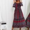 SCANDEZZA Bordowa sukienka maxi hiszpanka ze wzorem - zdjęcie 4