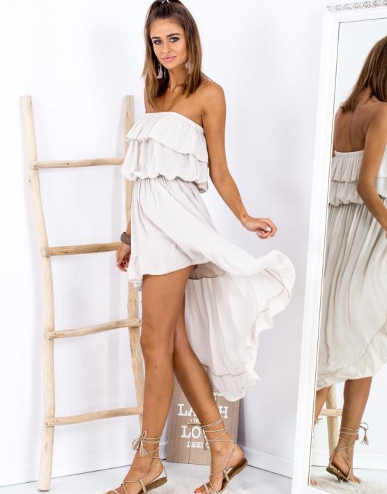 SCANDEZZA Beżowa sukienka z dłuższym tyłem