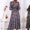 Sukienka maxi czarno-beżowa - zdjęcie 1