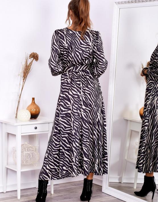 Sukienka maxi czarno-beżowa