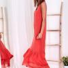 SCANDEZZA Czerwona długa sukienka z falbaną - zdjęcie 1
