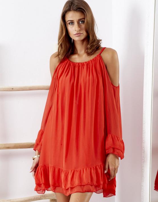 SCANDEZZA Czerwona zwiewna sukienka off shoulder