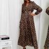 SCANDEZZA Brązowa sukienka maxi w panterkę - zdjęcie 5