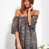 SCANDEZZA Grafitowa sukienka hiszpanka mini ze wzorem paisley - zdjęcie 5