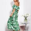 SCANDEZZA Biało-zielona sukienka hiszpanka maxi w tropikalne li¶cie - zdjęcie 6