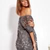SCANDEZZA Grafitowa sukienka hiszpanka mini ze wzorem paisley - zdjęcie 3