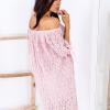 SCANDEZZA Różowa koronkowa sukienka z hiszpańskim dekoltem - zdjęcie 2