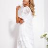 SCANDEZZA Ecru luźna sukienka z oddzielną halką - zdjęcie 4