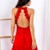 SCANDEZZA Czerwona sukienka wiązana na szyi - zdjęcie 1