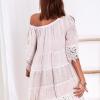 SCANDEZZA Beżowa sukienka boho z wycięciami na ramionach - zdjęcie 6