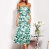 SCANDEZZA Biało-zielona sukienka maxi off shoulder w li¶cie - zdjęcie 4