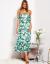 SCANDEZZA Zielona długa sukienka z nadrukiem liści