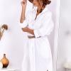 SCANDEZZA Biała bawełniana sukienka szmizjerka - zdjęcie 4